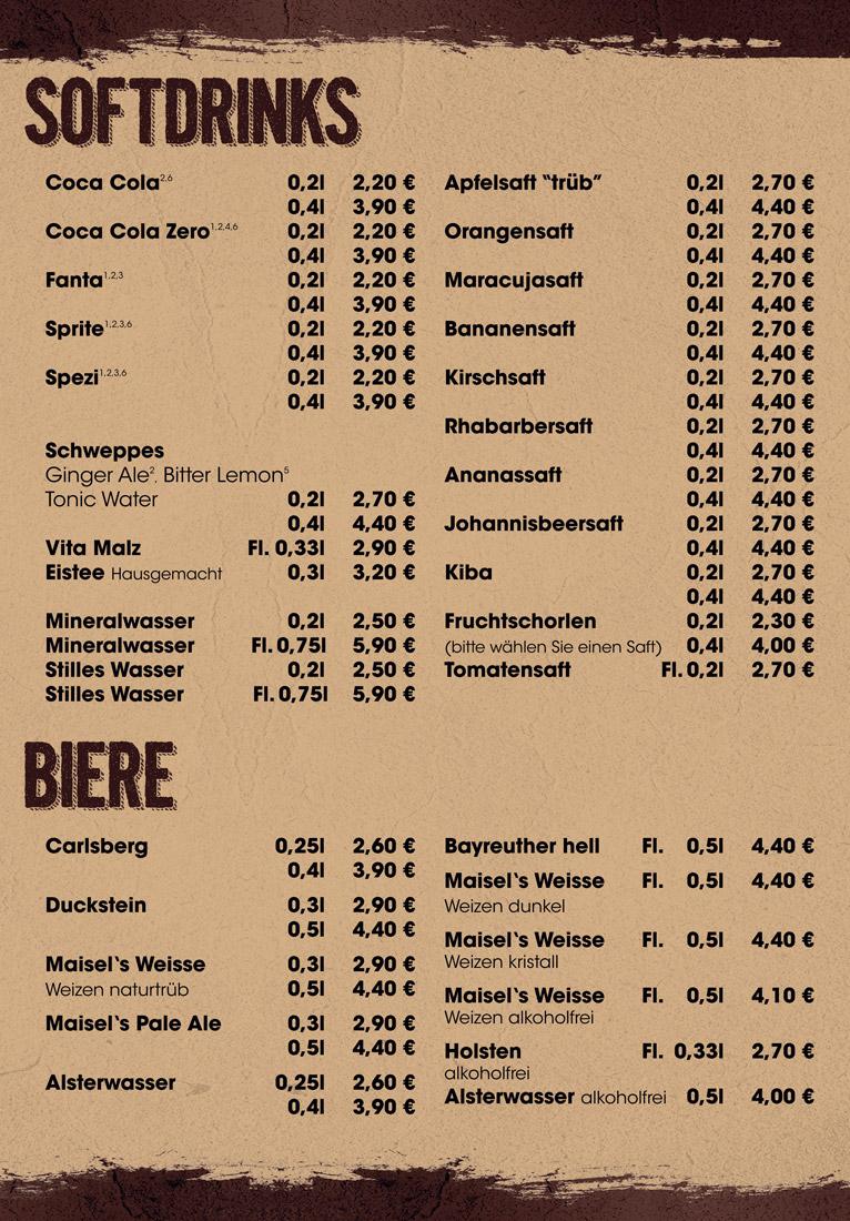 Soft Getränke & Biere - Rio - The Grillbar - Fuhlsbüttel